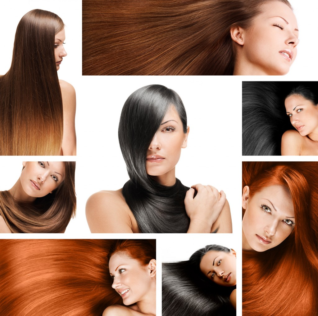 collage of a beautiful woman wih long hair